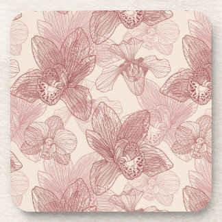 Orchid Engraving Pattern On Beige Background Coaster