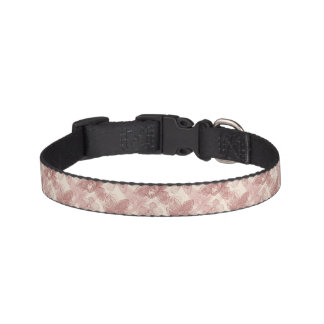 Orchid Engraving Pattern On Beige Background Dog Collar