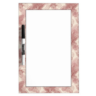 Orchid Engraving Pattern On Beige Background Dry Erase Boards