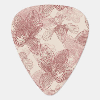 Orchid Engraving Pattern On Beige Background Guitar Pick