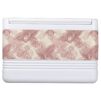 Orchid Engraving Pattern On Beige Background Igloo Cooler