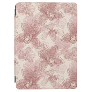 Orchid Engraving Pattern On Beige Background iPad Air Cover