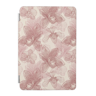 Orchid Engraving Pattern On Beige Background iPad Mini Cover