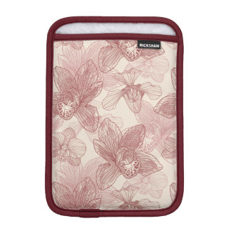 Orchid Engraving Pattern On Beige Background iPad Mini Sleeve