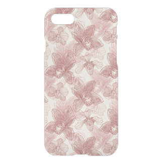 Orchid Engraving Pattern On Beige Background iPhone 8/7 Case