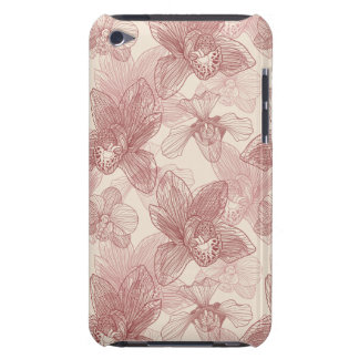 Orchid Engraving Pattern On Beige Background iPod Touch Cover