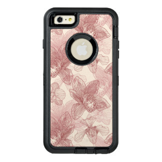 Orchid Engraving Pattern On Beige Background OtterBox Defender iPhone Case