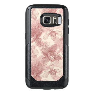 Orchid Engraving Pattern On Beige Background OtterBox Samsung Galaxy S7 Case