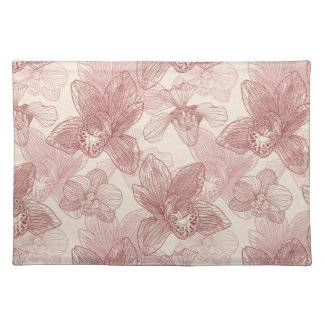 Orchid Engraving Pattern On Beige Background Placemat