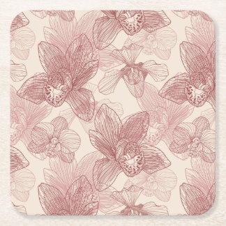 Orchid Engraving Pattern On Beige Background Square Paper Coaster