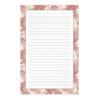Orchid Engraving Pattern On Beige Background Stationery Paper