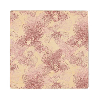 Orchid Engraving Pattern On Beige Background Wood Coaster