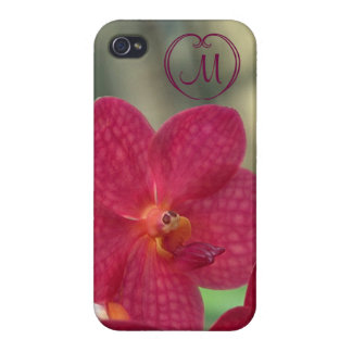 Orchid Faces monogram pink iPhone 4 glossy Cases For iPhone 4
