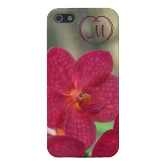 Orchid Faces monogram pink iPhone 5 5S glossy iPhone 5 Covers