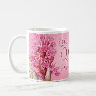 Orchid floral art Wonderful Wife pink mug