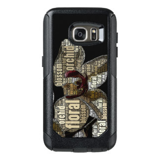 Orchid Floral Blossom Word Cloud Over Black OtterBox Samsung Galaxy S7 Case