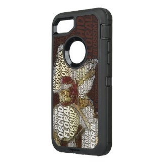 Orchid Floral Blossom Word Cloud Over Burgundy OtterBox Defender iPhone 8/7 Case