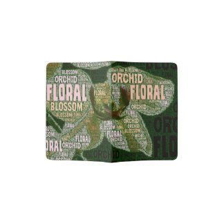 Orchid Floral Blossom Word Cloud Over Green Passport Holder