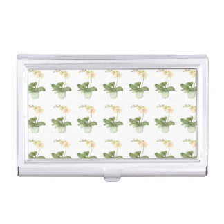 Orchid Flower in a Green Pot Business Card Holder