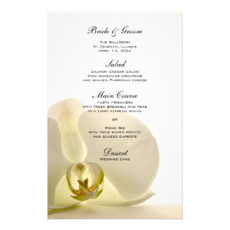 Orchid Flower on White Wedding Menu