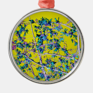 orchid flowers teal and yellow neat abstract desig christmas ornaments