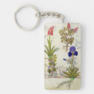 Orchid & Fumitory or Bleeding Heart Hedera & Iris Double-Sided Rectangular Acrylic Key Ring