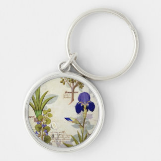Orchid & Fumitory or Bleeding Heart Hedera & Iris Silver-Colored Round Key Ring