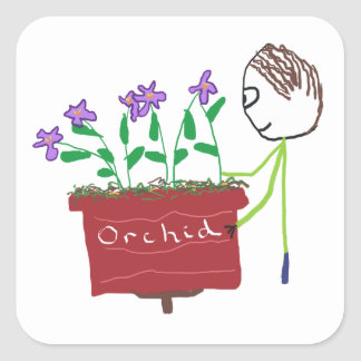 Orchid Growing Square Sticker