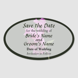 Orchid Harold Carls Save the Date Oval Sticker