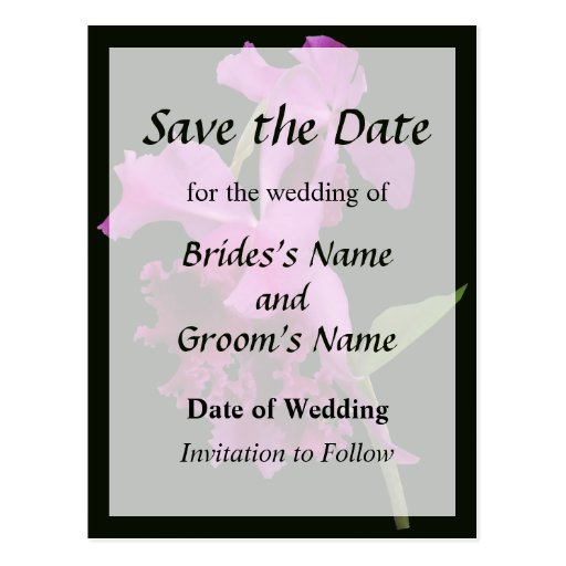 Orchid Harold Carls Save the Date Post Cards