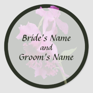 Orchid Harold Carls Save the Date Round Sticker