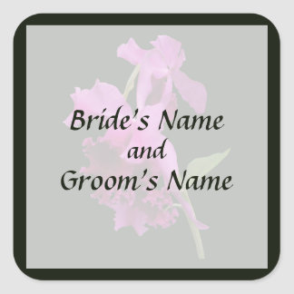 Orchid Harold Carls Save the Date Square Sticker