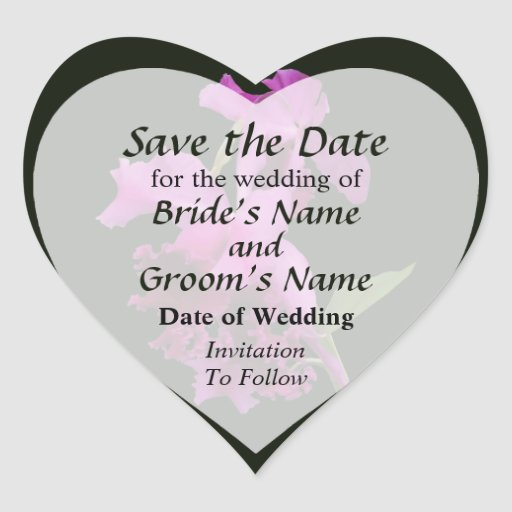 Orchid Harold Carls Save the Date Heart Sticker