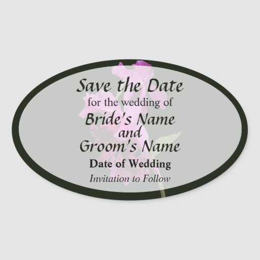 Orchid Harold Carls Save the Date Oval Stickers