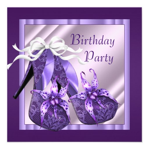 Orchid High Heel Shoes Womans Purple Birthday Invites