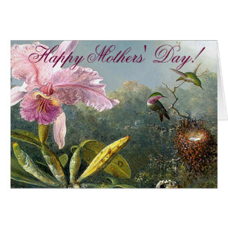 Orchid Hummingbirds Mothers Day Card