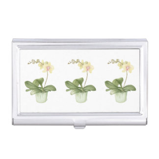 Orchid in a Green Pot Business Card Holder