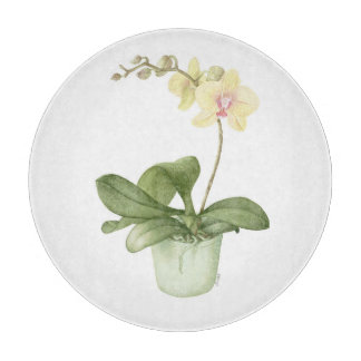 Orchid in a Green Pot in Watercolour Cutting Board