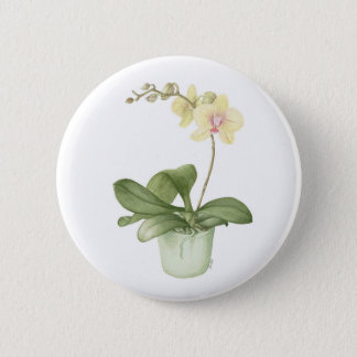 Orchid in a Green Pot Watercolour Badge