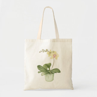 Orchid in a Green Pot Watercolour Tote Bag