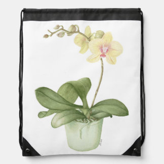Orchid in Green Pot Botanical Drawstring Bag
