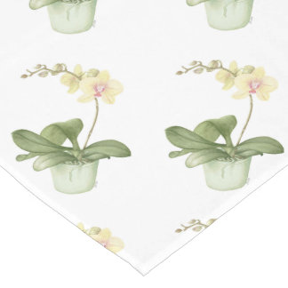 Orchid in Green Pot Botanical Watercolour Short Table Runner