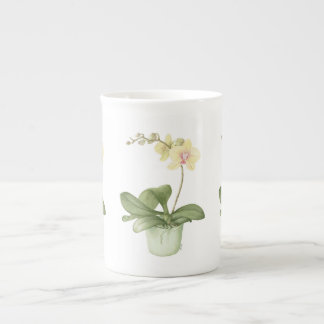 Orchid in Green Pot in Botanical Bone China Mug