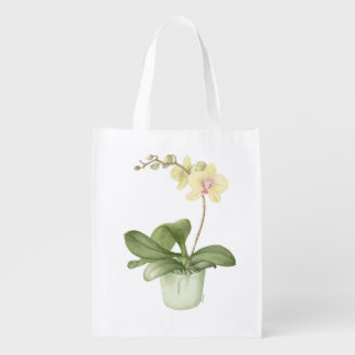 Orchid in Green Pot in Botanical Reusable Bag
