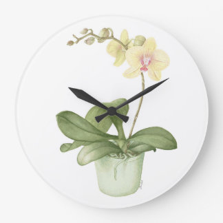 Orchid in Green Pot in Botanical Watercolour Clock