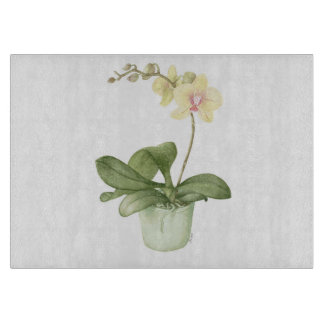 Orchid in Green Pot in Watercolour Cutting Board