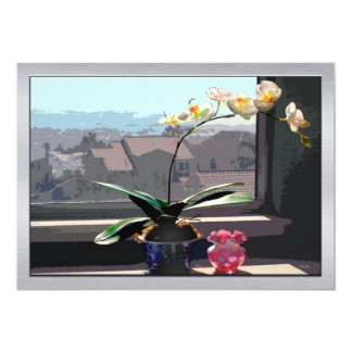 Orchid in Sunny Window 13 Cm X 18 Cm Invitation Card
