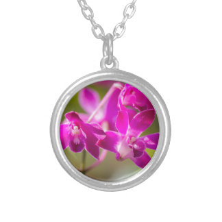 orchid in the garden silver plated necklace