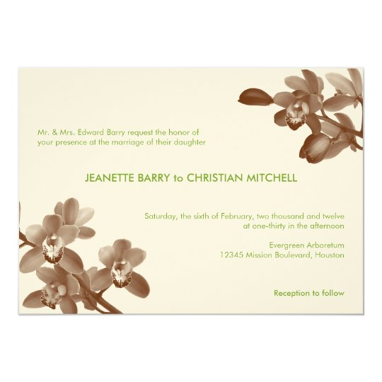 Orchid lover green ecru modern garden chic wedding card