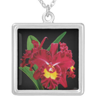 Orchid Oil on Canvas Necklace